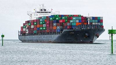 Photograph - Container Ship Entering Durban Harbour by Jeremy Hayden