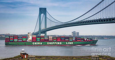 Photograph - Container Ship Passing The Verrazano Bridge by Jerry Fornarotto