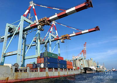 Photograph - Containers Are Loaded In Kaohsiung Port by Yali Shi