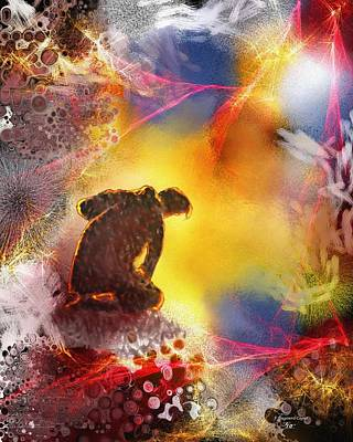 Abtract Digital Art - Contemplatif by Francoise Dugourd-Caput