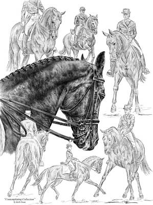 Contemplating Collection - Dressage Horse Drawing Print by Kelli Swan