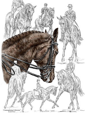 Bridle Drawing - Contemplating Collection - Dressage Horse Print Color Tinted by Kelli Swan