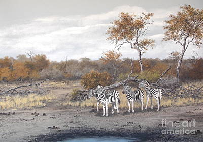 South Africa Zebra Painting - Contemplating by John Beukes
