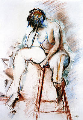 Drawing - Contemplation - Nude On A Stool by Kerryn Madsen-Pietsch