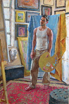 Artist Painting - Contemplation In The Studio by David Tanner