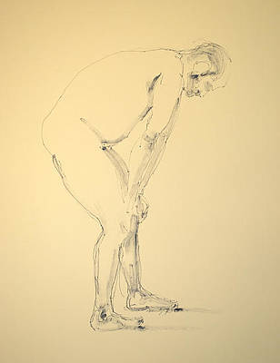Male Nude Drawing Drawing - Contemplation by Robert Spannring