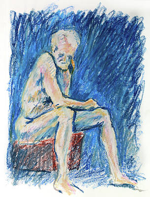 Nude Old Men Drawing - Contemplative A Nude Male Oil Pastel Drawing In Blue by Adam Long