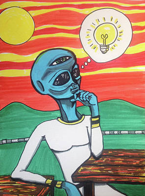 Painting - Contemplative Alien by Similar Alien