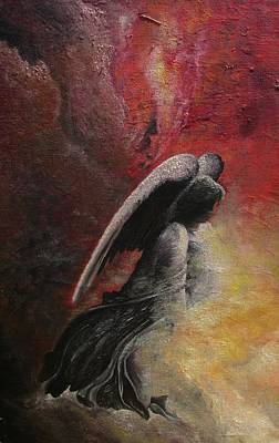 Art Print featuring the painting Contemplative Angel by Mary Ellen Frazee