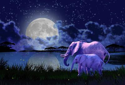 Digital Art - Contemplative Elephants by Charlie Alolkoy