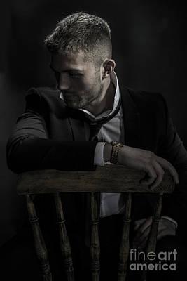 Contemplative Male Model Art Print