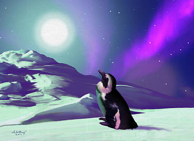 Painting - Contemplative Penguin by Charlie Alolkoy