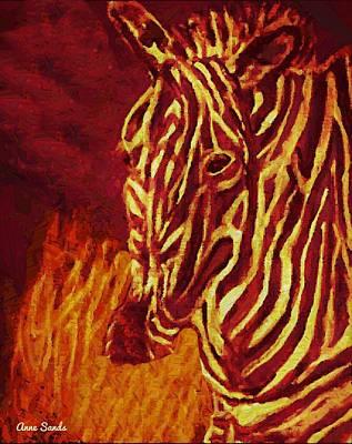 Digital Art - Contemplative Zebra by Anne Sands