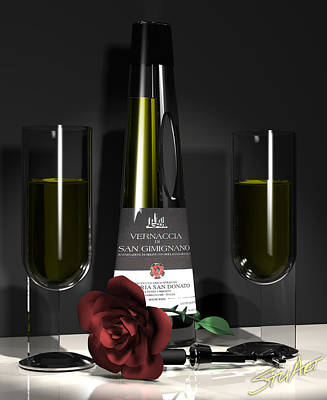 Digital Art - Contempoary Wine And Roses by Stuart Stone
