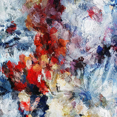 Painting - Contemporary Abstract Painting In Red / Orange Tones by Inspirowl Design