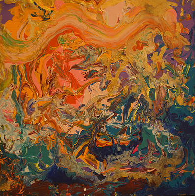 Pouring Painting - Contemporary Abstract Painting -  Liquid Dreams 3 by Adam Asar
