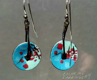 Jewelry - Contemporary Blue, Teal, Red Earrings by Brenda Berdnik