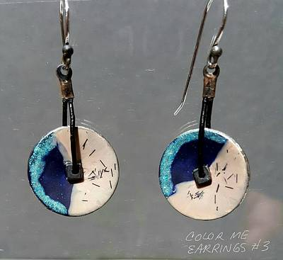 Jewelry - Contemporary Blue, Teal, Tan Earrings by Brenda Berdnik