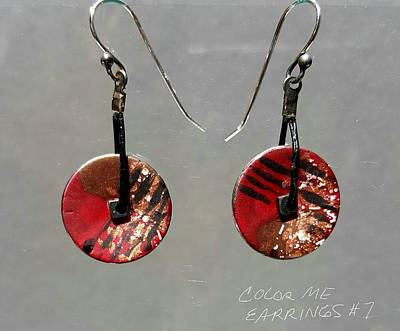 Jewelry - Contemporary Brown, Black, Red Earrings by Brenda Berdnik
