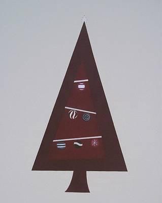 Contemporary Christmas Tree Art Print by Sandy Bostelman