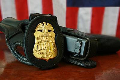21th Century Photograph - Contemporary Fbi Badge And Gun by Everett