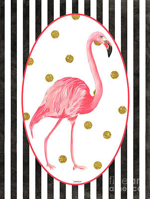 Vibrant Mixed Media - Contemporary Flamingos 2 by Debbie DeWitt