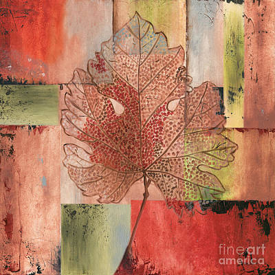 Multicolored Painting - Contemporary Grape Leaf by Debbie DeWitt