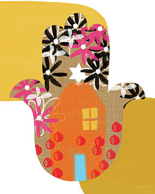 Contemporary Hamsa With House- Art By Linda Woods Art Print