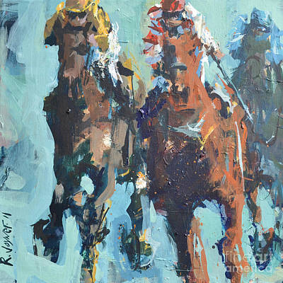 Art Print featuring the painting Contemporary Horse Racing Painting by Robert Joyner