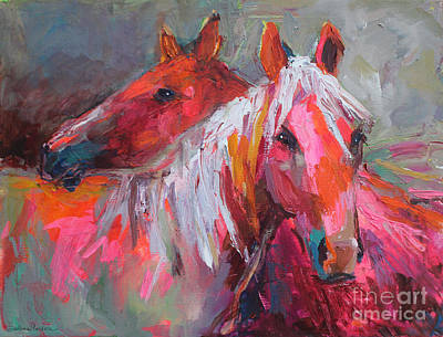 Equine Drawing - Contemporary Horses Painting by Svetlana Novikova