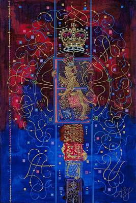 Queen Elizabeth Ii Painting - Contemporary Illuminated Armorial Featuring The Royal E  by Andrew Stewart Jamieson
