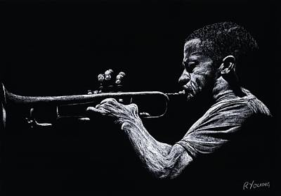 Contemporary Jazz Trumpeter Art Print by Richard Young