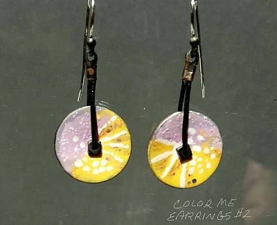 Jewelry - Contemporary Lavender, Orange Yellow Earrings by Brenda Berdnik
