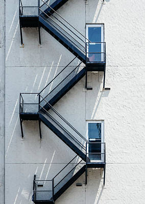Contemporary Minimalist Photography Of Stairwell Art Print by Dylan Murphy