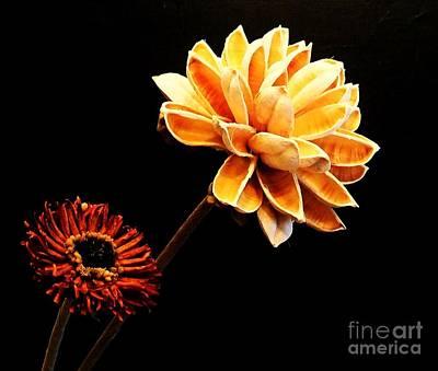 Burnt Digital Art - Contemporary Natural Flowers by Marsha Heiken