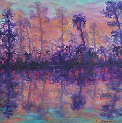 Painting - Contemporary Nature Painting Tropical Lake Sunset by Amber Palomares