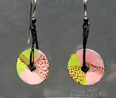 Jewelry - Contemporary Pink, Green Earrings by Brenda Berdnik