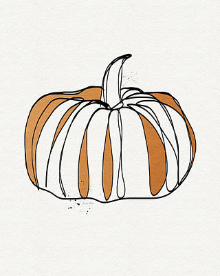 Autumn Drawing - Contemporary Pumpkin- Art By Linda Woods by Linda Woods