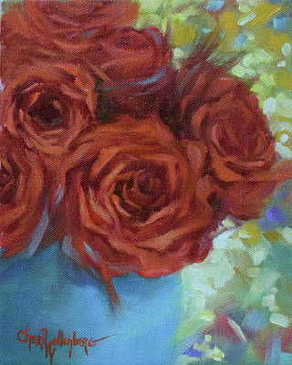 Painting - Contemporary Red Roses With Confetti Background by Cheri Wollenberg