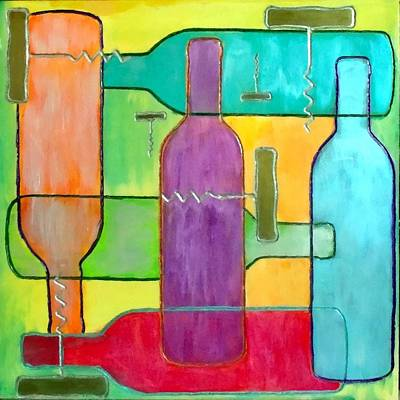 Wine Painting - Contemporary Wine Bottles by Char Swift