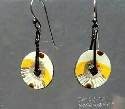 Jewelry - Contemporary Yellow, Brown, Orange Earrings by Brenda Berdnik