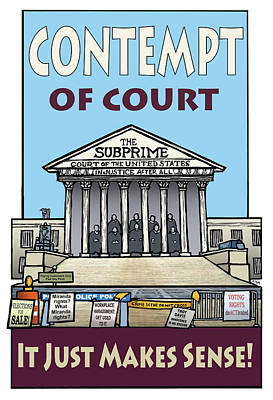 Contempt Of Court Art Print by Ricardo Levins Morales