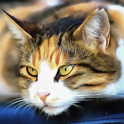 Painting - Contented Cat  by Tracey Harrington-Simpson