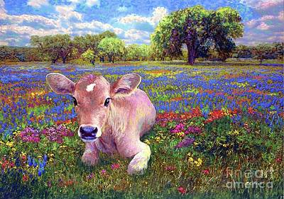 Colourful Flowers Painting - Contented Cow In Colorful Meadow by Jane Small