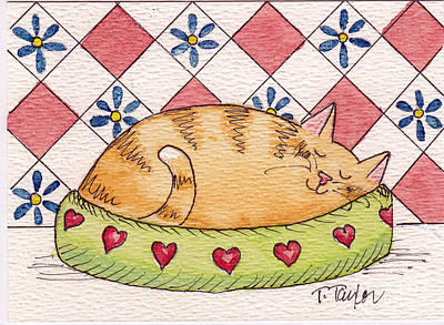 Painting - Contented Kitty by Terry Taylor
