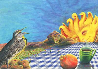Tangerines Drawing - Continental Breakfast by Bon Vernarelli