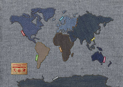 Continental Denim World Map Art Print by Michael Tompsett