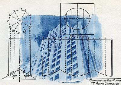 Continental Life Building Cyanotype Blueprint Architecture Art Print by Jane Linders