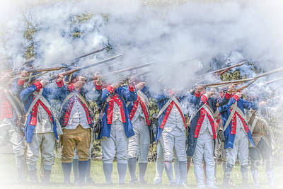Digital Art - Continental Soldiers Volley Fire  by Randy Steele