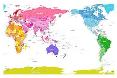 Continents World Map Art Print by Michael Tompsett